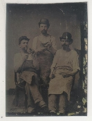 Three Workers in Aprons Tintype