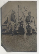 Two Soldiers With Musket Tripod Tintype