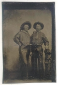 Cowboy Show Performers with Guns and Chaps Tintype