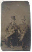 Drinking Buddies with Whiskey Bottle Tintype