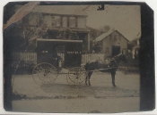 Horse Drawn Milk Wagon Tintype