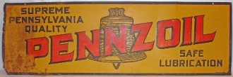Pennzoil Safe Lubrication Advertising Metal Tin Sign