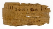 10 Cent Columbia Bank New York Fractional Currency Note