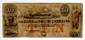 10 Dollar The Bank of South Carolina 1852 Obsolete Note