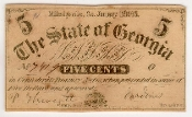 5 Cent The State of Georgia Fractional Currency Note 1863