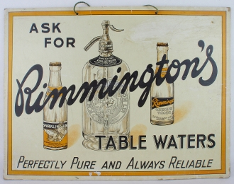 Rimington's Table Waters Perfectly Pure and Always Reliable Sign