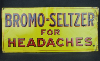 Bromo-Seltzer for Headaches Tin Sign Pharmacy Drug Store