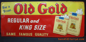 Old Gold Cigarette Metal Tobacco Tin Sign by P Lorillard Co.