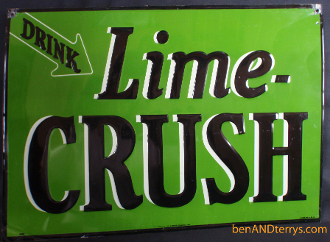 Crush Lime Soda Cola Tin Advertising Old Tin Sign