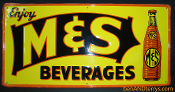 M&S Beverages Soda Cola Old Tin Advertising Sign