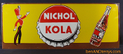 Nichol Kola Tin Cola Soda Advertising Sign with Majorette