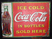 Coca-Cola In The Bottles 1930's Embossed Tin Sign