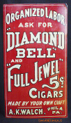 Diamond Bell & Full Jewel 5 Cent Cigars Tobacco Sign