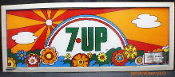 7up 1970's reverse painted soda machine sign Peter Max style