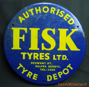 Fisk Tyres Porcelain over Metal Tin Gas Station Sign