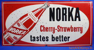 Norka Cherry-Strawberry Soda Cola Beverage Advertising Sign
