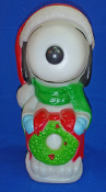 "Snoopy in Santa Hat & Holding Wreath 16"" Christmas Blow Mold"