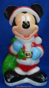 "Mickey Santa with green sack of gifts 18"" Disney Blow Mold"