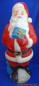 "Santa offering blue present 34"" Christmas Blow Mold"