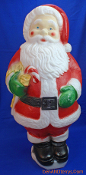 "Santa holding candy cane with yellow bow 31"" Christmas Blow Mold"