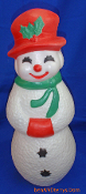 "Snowman Snow Lady 22"" Smiling Christmas Blow Mold."