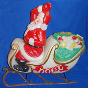 Santa's  Sleigh & Both Runners full of Christmas Gifts Blow Mold