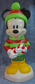 "Mickey Mouse Holding Candy Cane Lighted Christmas 24"" Blow Mold"