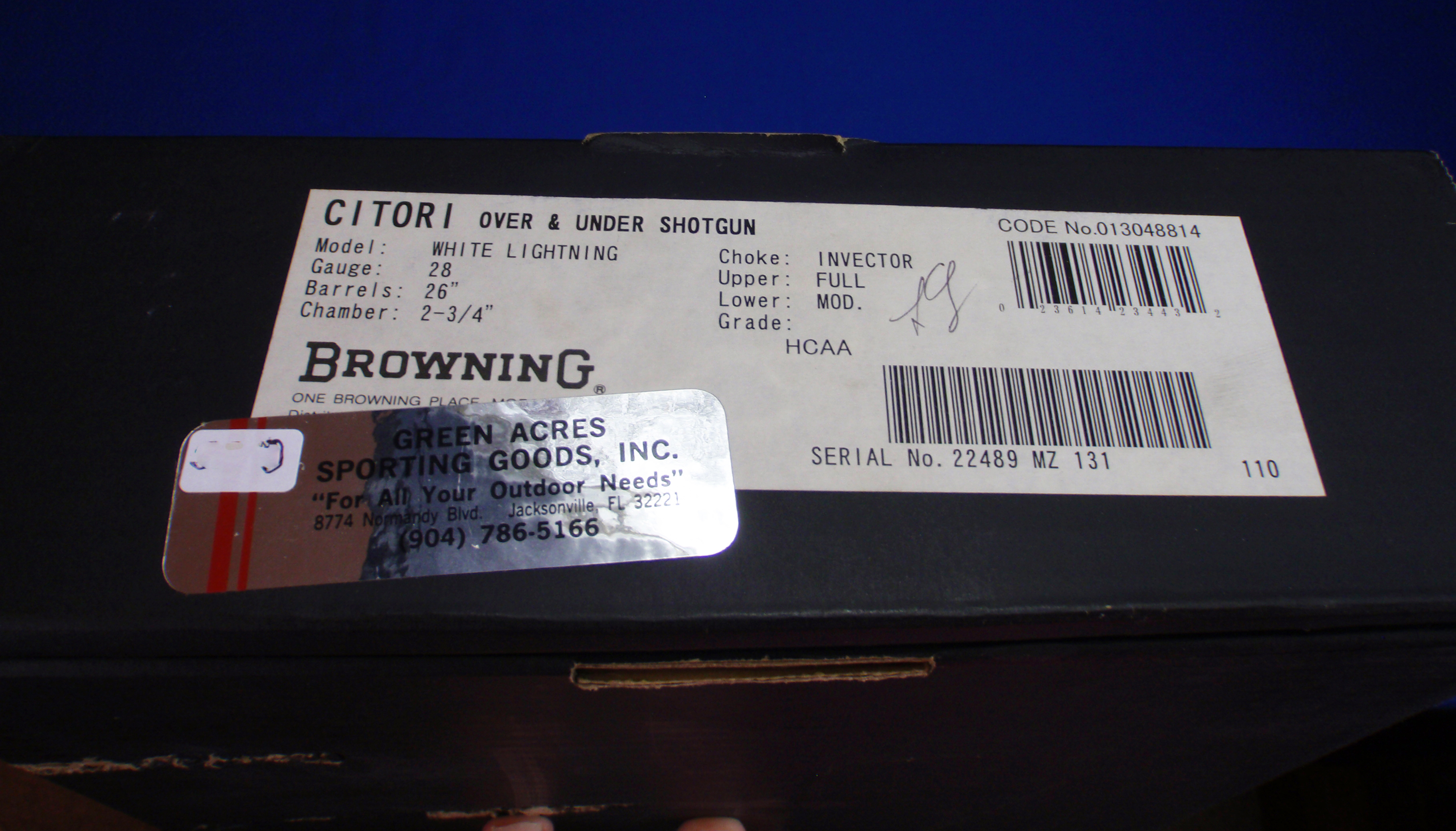 Browning Citori White Lightning 28 Gauge Shotgun Box